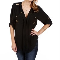 Black 3/4 Sleeve Studded Top