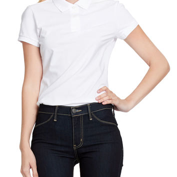 LE3NO PREMIUM Womens Active Short Sleeve Pique Polo Shirt with Stretch