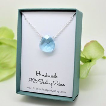 Swarovski aquamarine crystal necklace, Sterling silver Blue Teardrop briolette Pendant, march birthstone something blue