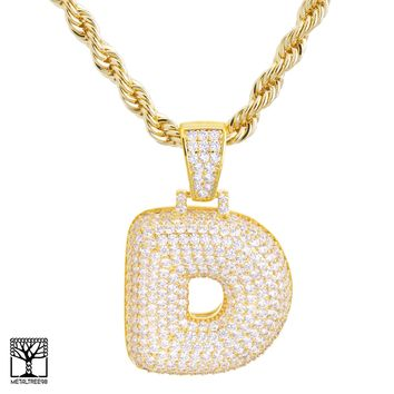 "Jewelry Kay style Custom Bubble Letter D Initial Gold Plated Iced CZ Pendant 24"" Chain Necklace"