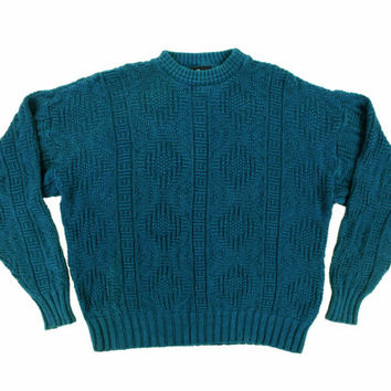 Vintage Woolrich Teal Sweater - Oversize Knit Pullover Jumper Ivy League Menswear - Men's Size Large Lrg L