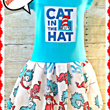 girls Dr. Seuss Cat in the HAT dress 2t 3t 4t 5/6 7/8 10/12 thing one thing two