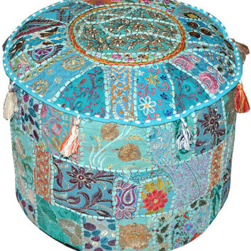 Bohemian Pouf Ottoman Vintage Embroidered Patterned Cocktail Ottoman Footstool Cover indian round ottoman stool pouf pillow Hassock Pouffe