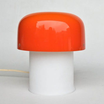 Vintage Mushroom Bedside / Table Lamp by Meblo Guzzini / 70's Design Classic Lightning / Orange