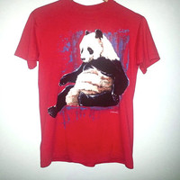 1991 Vintage PANDA Animal T-Shirt Panda Bear Animal Shirt Color Red and Blue Size Medium