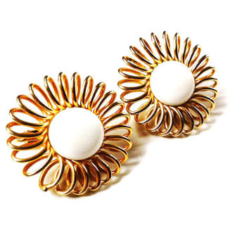 Gold Clip On Earrings , Vintage Emmons Earrings , Designer Jewelry , Big Round Gold Spiral With White Center Button , Signed