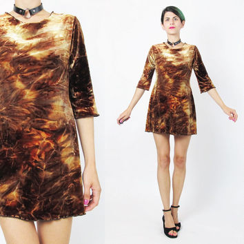 1990s Crushed Velvet Dress Tie Dye Velvet Dress Vintage Velvet Mini Dress Long Sleeve Velvet Dress Grunge Orange Brown Velvet Dress (S/M)