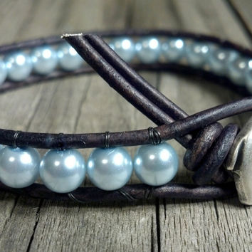 Leather Wrap Pearl Bracelet, Pearl, GOOD LUCK Elephant