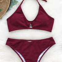 Cupshe Pleasantly Surprised Halter Bikini Set