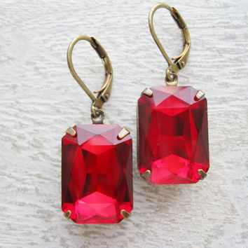 Red Drop Earrings, Large Rhinestone Dangles, Old Hollywood, Wedding Jewellery, Antique Brass, Bridal Earrings, Christmas Jewellery
