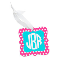 Monogrammed Pink Polka Dot Christmas Tree Ornament - Personalized Red Chevron Green