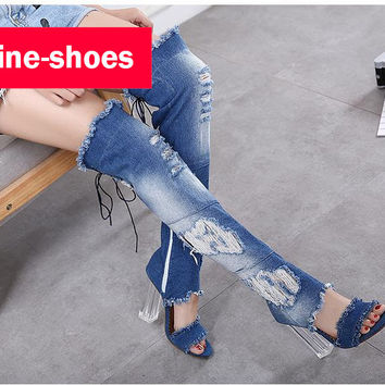 2017 brand new Vogue new fashion summer shoes woman high heels sandals boots ladies jean thick crystal heel peep toe 10cm 531
