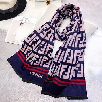 Perfect Fendi Women Wool Scarf Shawl Silk Scarf