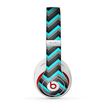 The Turquoise-Black-Gray Chevron Pattern Skin for the Beats by Dre Studio (2013+ Version) Headphones