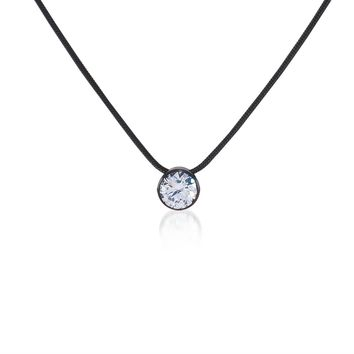 PT201B B.Tiff Solitaire Black Anodized Stainless Steel Pendant