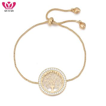 New pulseira mujer moda Clear Crystal Gold Charm Bracelets Bangles For Women Tree of Life Adjustable Bracelet Jewelry Gift
