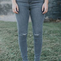 Camp Distressed High Rise Jeans, Grey