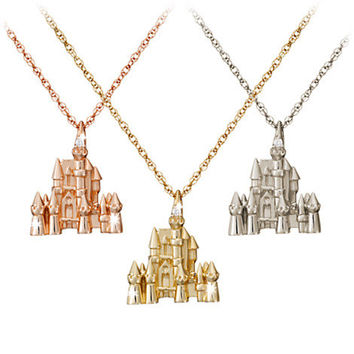 Diamond and Gold Disney Castle Necklace -- 14 Karat | Disney Store