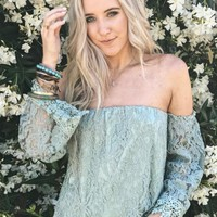 Summer Waters Lace Off The Shoulder Top
