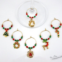 Gold Christmas wine charms tags drink markers table ornaments wine glass charms wine glass marker gift under 25 gift holiday wine charms