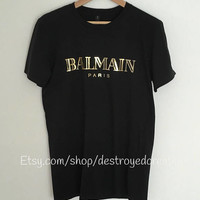 Balmain Paris Black Tee Shirt Gold Foil Balmain Gucci Inspired T-Shirt