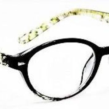 Optical Reading Glasses Fashion RETRO Rounded CAT EYE Black and GREEN Prints