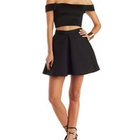 Black A.Peach Two-Piece Scuba Knit Hook-Up by Charlotte Russe