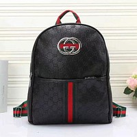 GUCCI Popular Unisex Leather School Bag Backpack Bookbag Daypack Black I
