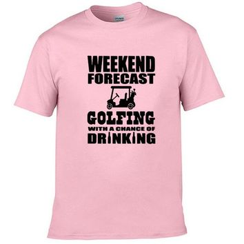 Weekend Forecast Golfing With A Chance Of Drinking - T-shirt
