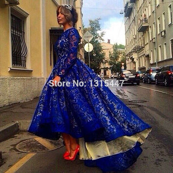 High Low Royal Blue/White Prom Dresses Long Sleeve Sexy Women Long Lace Evening Formal Party Dresses 2017 Vestido Longo