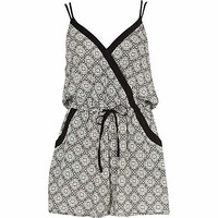 Black and white tile print wrap playsuit