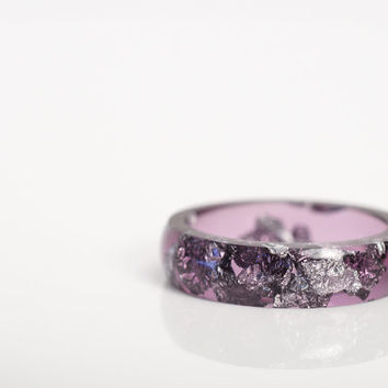 size 6 | thin smooth stacking eco resin ring | amethyst purple resin with silver metallic flakes