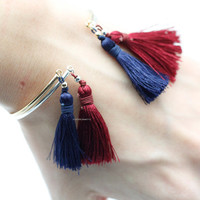 Bangle with Tassle in 2 colors, fall bracelet,  boho bracelets Gold / Silver, B0825G
