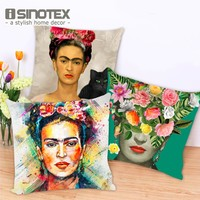 Cushion Cover Frida Kahlo Colorful Flowers Pillowcase 43x43cm 17x17'' Woven Pillow Covers Polyester&Linen Home Decor 1PCS Lot