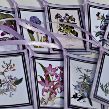Spring Flower Tags with Orchid Trim