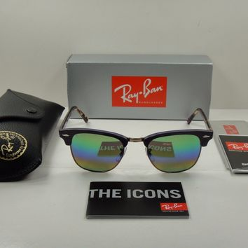 RAY-BAN CLUBMASTER SUNGLASSES RB3016 1221C3 VIOLET/GREEN FLASH LENS 49MM NEW!