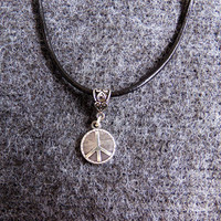 Adjustable peace sign charm leather choker hippie hippy hipster peace love happiness