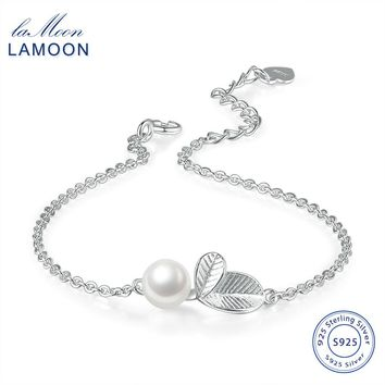 S925 Bracelet For Women Simple Style Vivid Leaves with Texture 100% 925 Sterling Silver & Pearl  Fine Jewerly Gift HY017 LAMOON