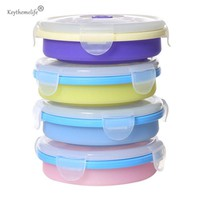 1PCS Round Silicone Folding Microwave Lunch Boxs Bento Eco-friendly Food Container 200ml B0