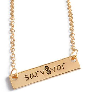 Gold Plated Survivor Letters Rectangular Pendant Necklace