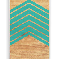 Wood With Mint Chevron for Iphone 4 / 4s Hard Cover Plastic