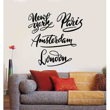 Vinyl Wall Decal New York Amsterdam Paris London Cities Tourism Words Stickers Mural (g1149)
