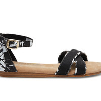 TOMS Black White Tropical Youth Correa Sandals Black
