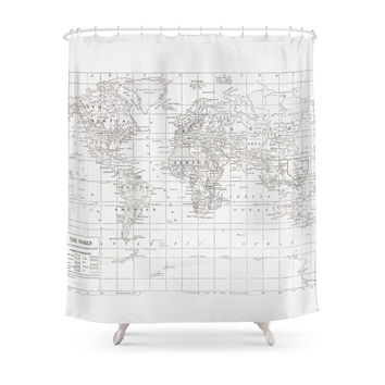 Society6 World Map ~ White On White Shower Curtains