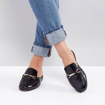 ASOS DESIGN Movie Wide Fit Leather Mule Loafers at asos.com