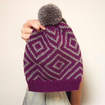 Knitted Hat Slouchy Beanie Geometric Diamond with Pom Pom - Fuchsia & Grey