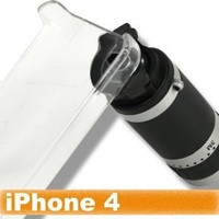 [Aftermarket Product] 6X Zoom Telescope Camera Lens With Clear Case Cover Holder, Neck Strap For Apple iPhone 4 4G