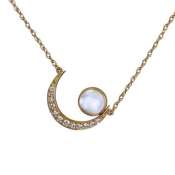 Diamond Moon Cradle Necklace