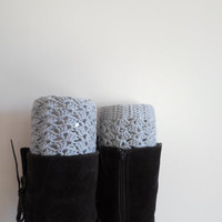 Boot cuffs, Grey boot cuffs, Crochet boot cuffs, Crochet lace boot toppers, Fall color beige, Teen  Women, winter outfit