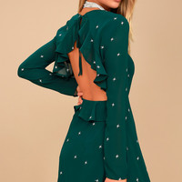 Counting Constellations Forest Green Embroidered Backless Dress
